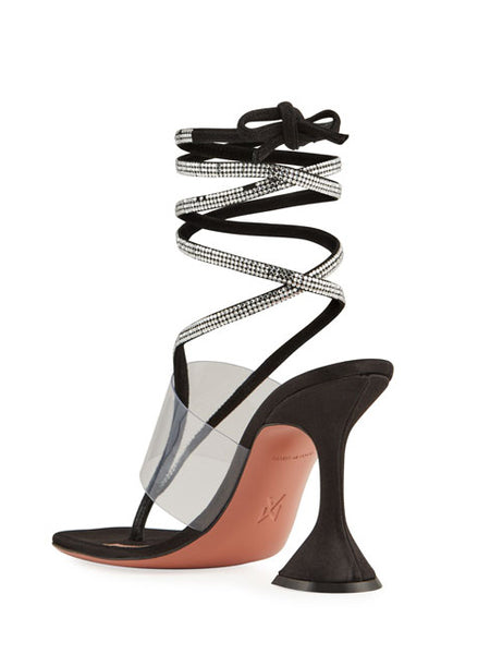 Zula Crystal Ankle-Wrap Evening Sandals