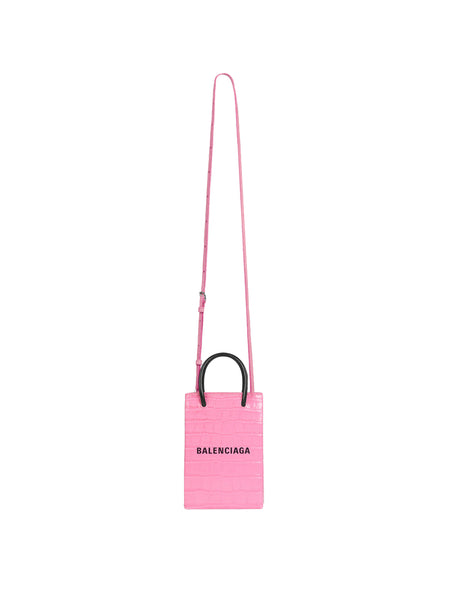 Shopping Phone Holder Pink With Strap