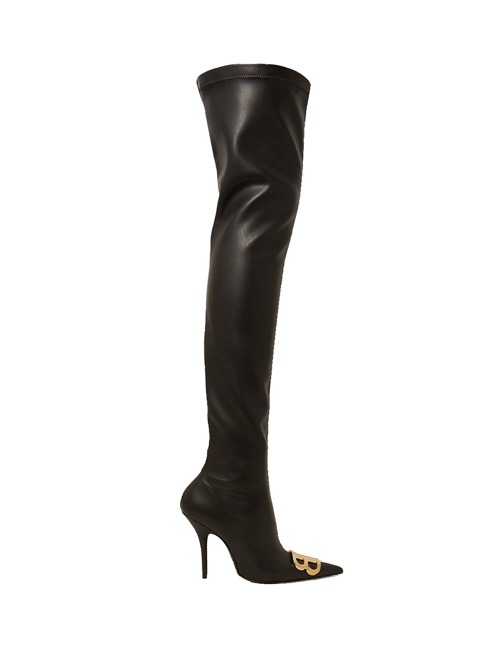 Logo-embellished Faux Leather Thigh Boots