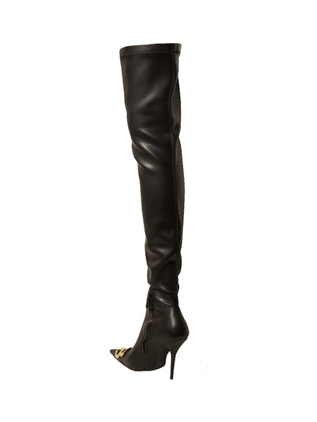 Logo-embellished Faux Leather Thigh Boots Back