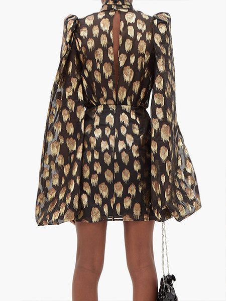 Balloon-Sleeve Lamé Mini Dress Back