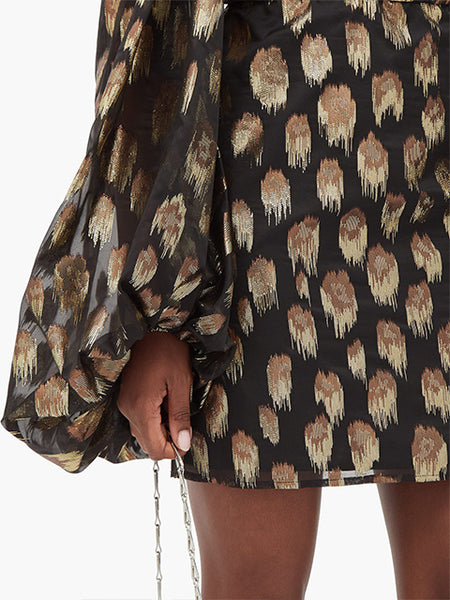 Balloon-Sleeve Lamé Mini Dress Detail