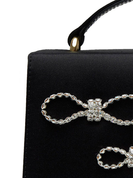 Crystal Bow Embellished Satin Top Handle Bag Detail