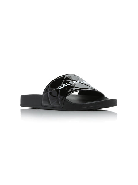 Logo-Printed Quilted Faux Patent Leather Pool Slides 3/4