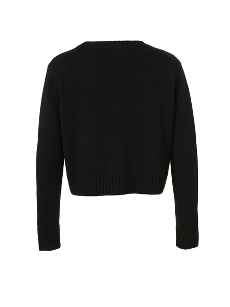Cashmere Crop Sweater Intarsia Girl Dog Black