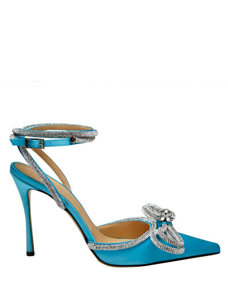 Crystal-Embellished Satin Pumps - Blue