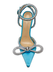 Crystal-Embellished Satin Pumps - Blue Top