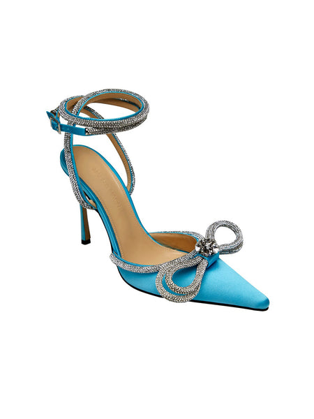 Crystal-Embellished Satin Pumps - Blue 3/4