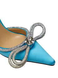 Crystal-Embellished Satin Pumps - Blue Toe