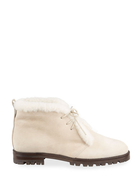 Mircus Suede Shearling Lace-Up Booties