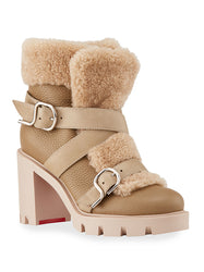 Pole Chic Shearling Red Sole Combat Booties