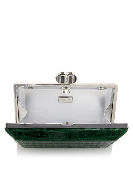 Crocodile Emerald Silver Clutch Open