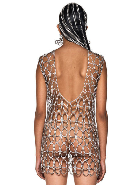 Crystal Butterfly Net Dress Back