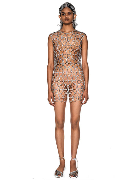 Crystal Butterfly Net Dress Front