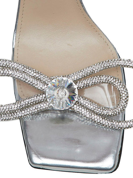 Crystal Bow-Embellished Sandals Detail