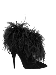 Lily Ankle Boots in Suede and Ostrich Feathers