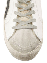 Slide Distressed Shearling-Trimmed Leather High-Top Sneakers Toe