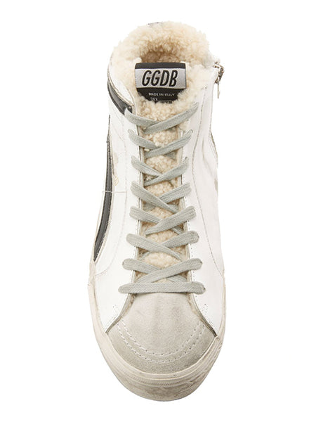 Slide Distressed Shearling-Trimmed Leather High-Top Sneakers Top