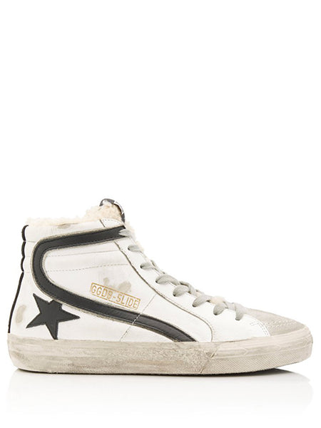 Slide Distressed Shearling-Trimmed Leather High-Top Sneakers
