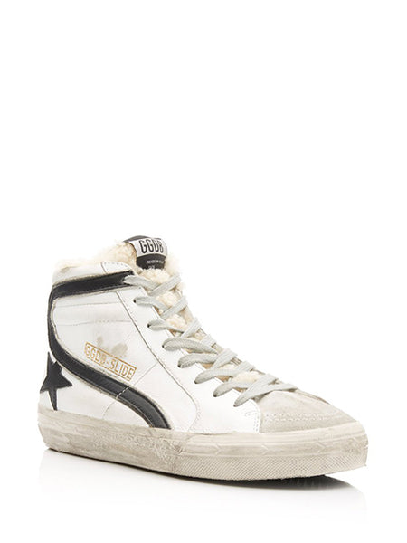 Slide Distressed Shearling-Trimmed Leather High-Top Sneakers 3/4