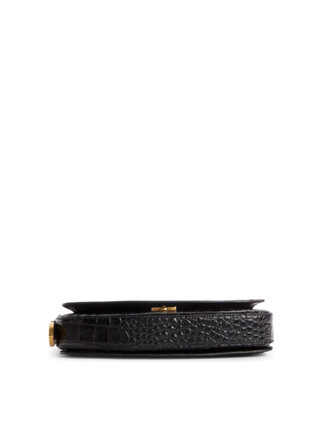Ghost Croc-Embossed Leather Baguette