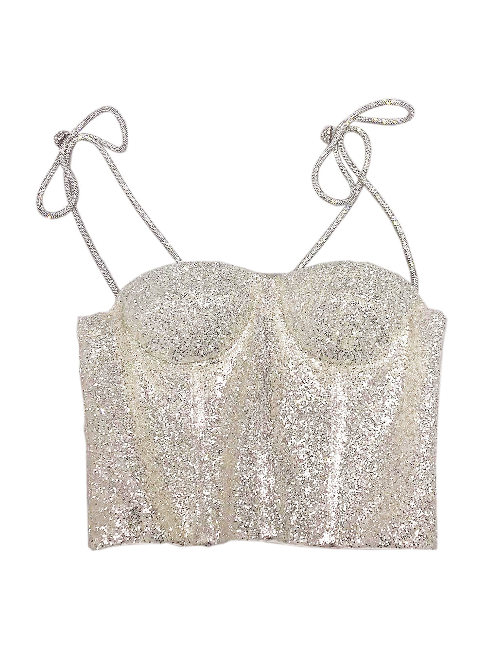 Glitter Corset With Crystal Bow Straps