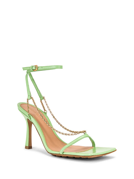 Stretch Chain-Strap Leather Sandals