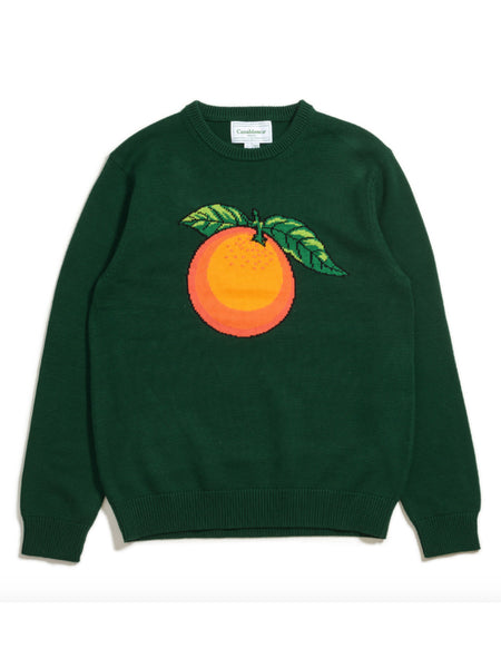 Orange-Intarsia Cotton Sweater (Green)