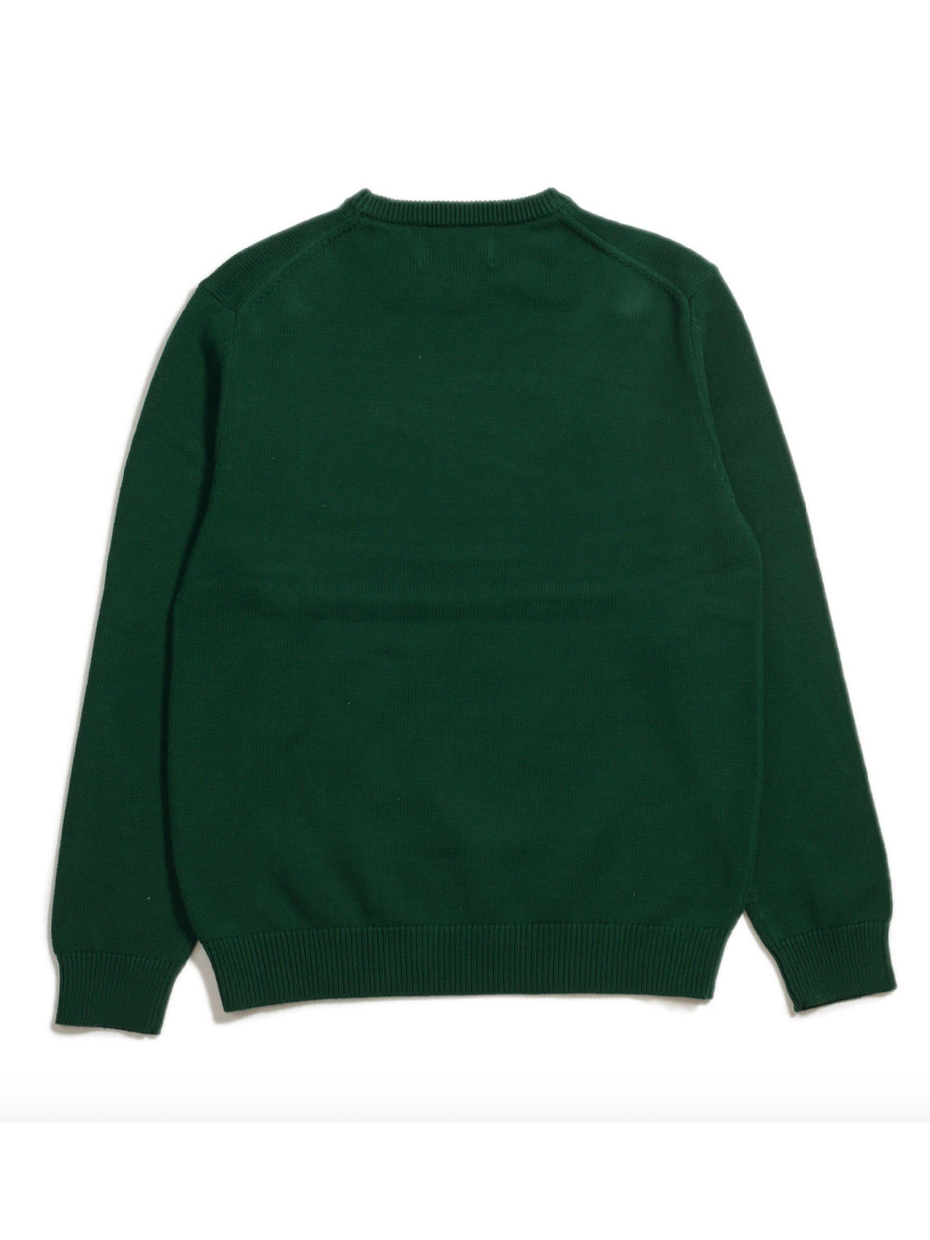 Orange-Intarsia Cotton Sweater (Green) Back