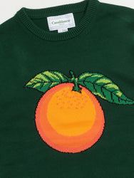 Orange-Intarsia Cotton Sweater (Green) Detail