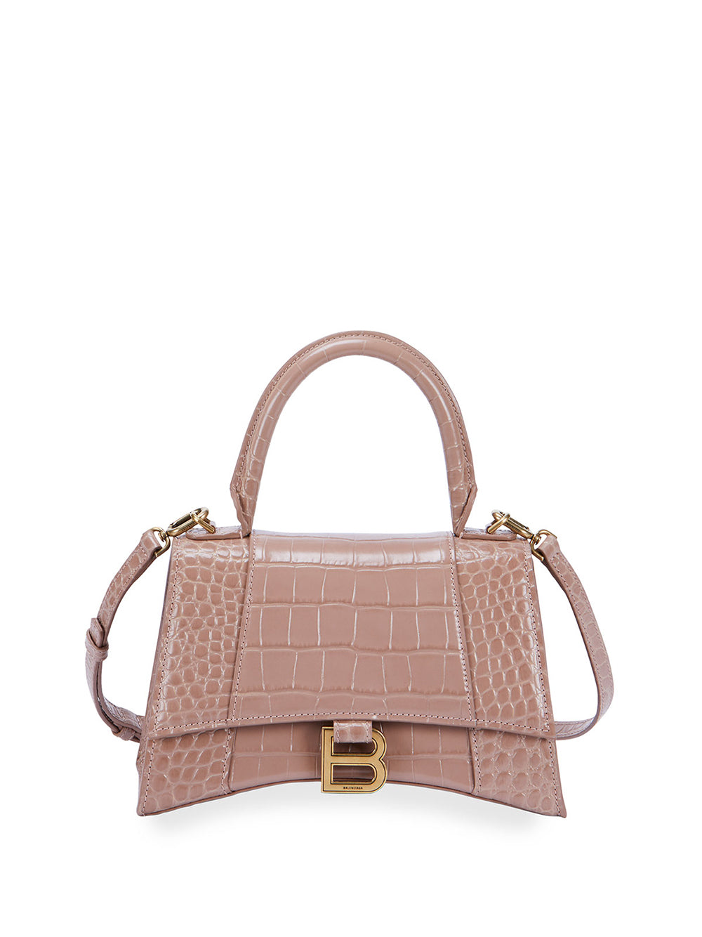 Hour Small Croc-Embossed Top-Handle Bag