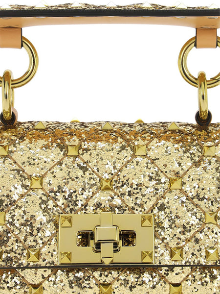 Micro Rockstud Spike Glitter Leather Bag Detail
