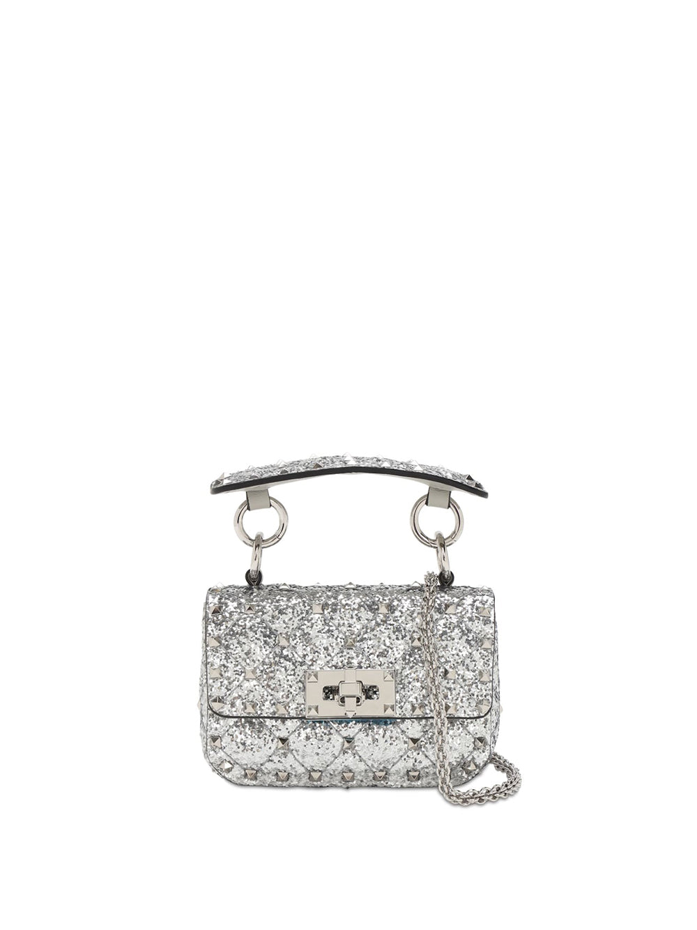 Micro Rockstud Spike Glitter Leather Bag - Silver