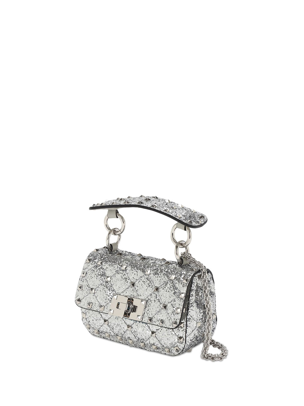 Micro Rockstud Spike Glitter Leather Bag - Silver 3/4