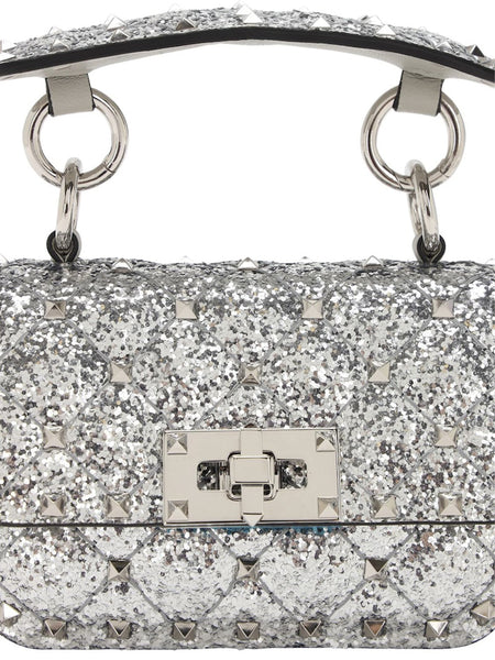 Micro Rockstud Spike Glitter Leather Bag - Silver Close up