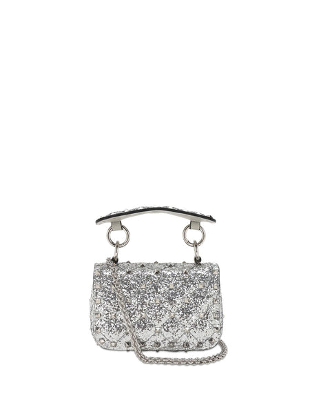 Micro Rockstud Spike Glitter Leather Bag - Silver Back