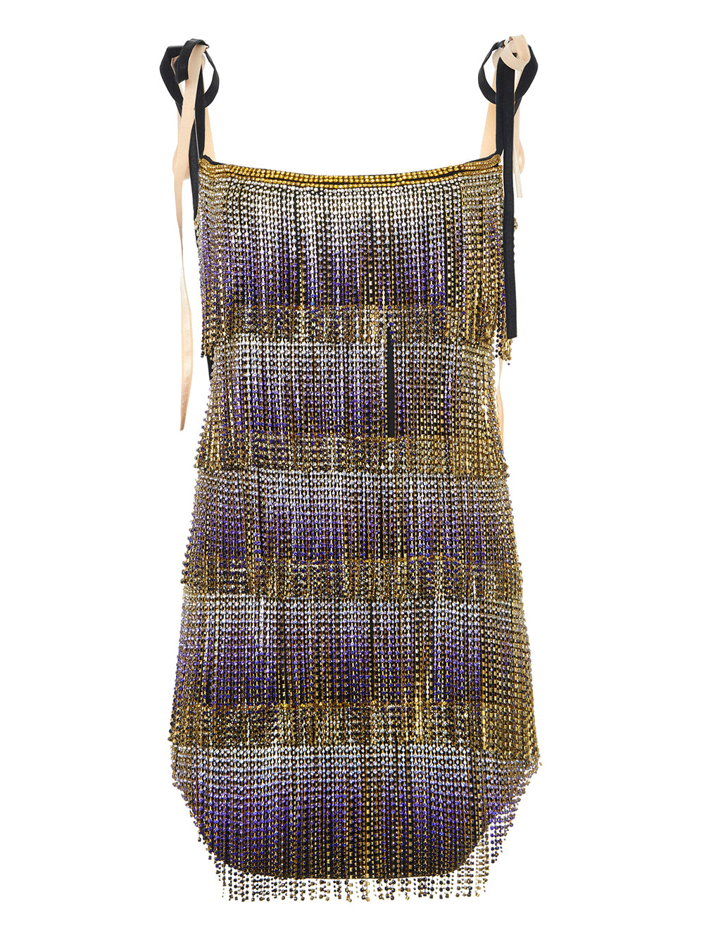 Crystal-Embellished Fringe Mini Dress