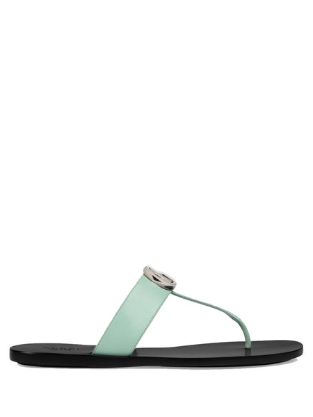 Women's Leather Thong Sandal with Double G
