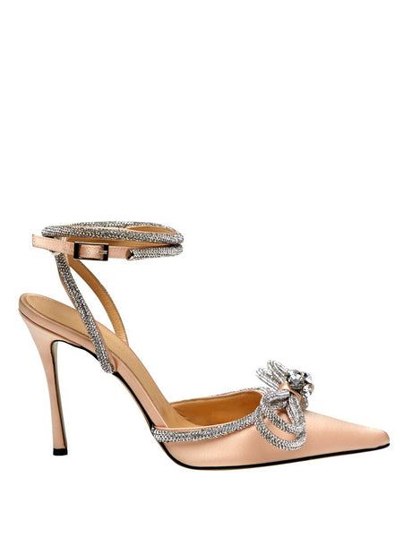 Crystal-Embellished Satin Pumps- Nude