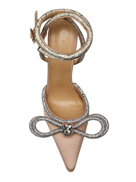 Crystal-Embellished Satin Pumps- Nude Top