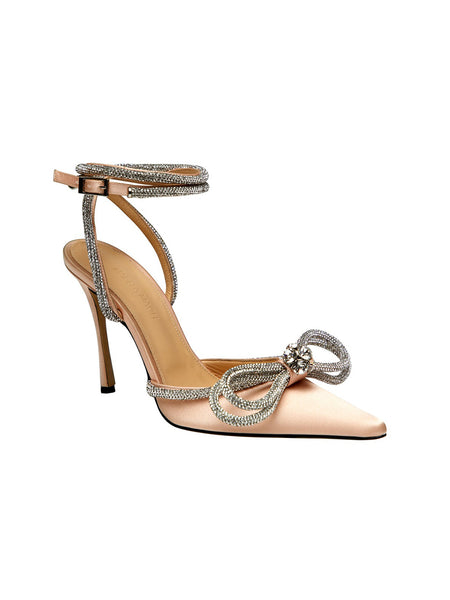 Crystal-Embellished Satin Pumps- Nude 3/4