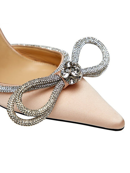 Crystal-Embellished Satin Pumps- Nude Toe