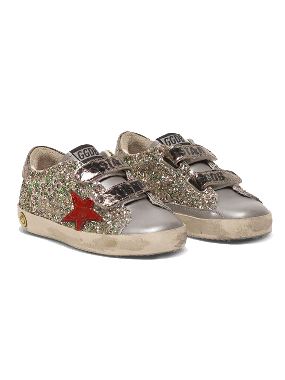 Kid's Old School Sneakers with Glitter and Red Star