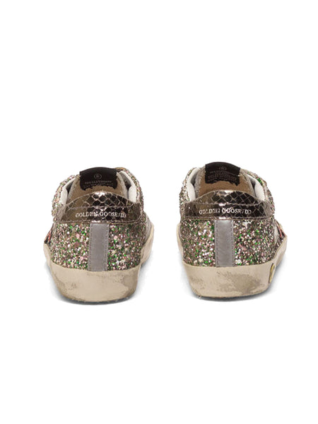 Kid's Old School Sneakers with Glitter and Red Star Back