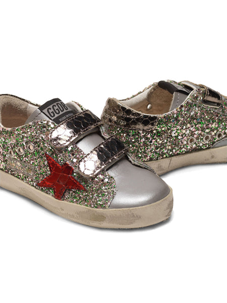 Kid's Old School Sneakers with Glitter and Red Star Detail