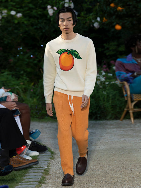 Orange-Intarsia Cotton Sweater (Cream) Runway