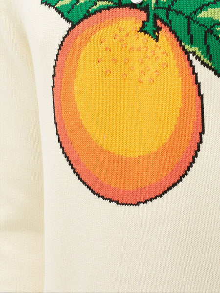 Orange-Intarsia Cotton Sweater (Detail)