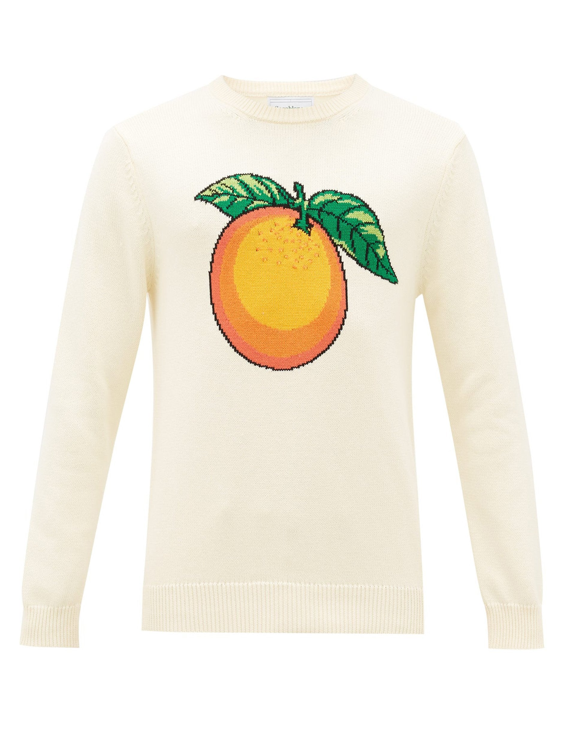 Orange-Intarsia Cotton Sweater (Cream)