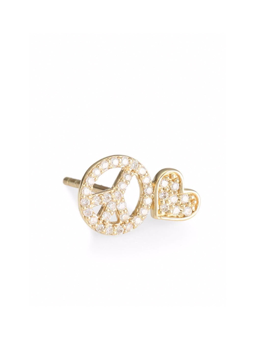 Peace & Heart Stud Earring (Left)