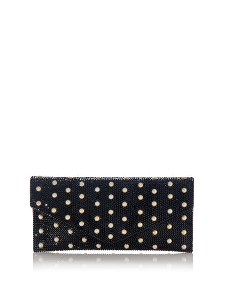 Envelope Black Crystal Clutch with Pearl Studs